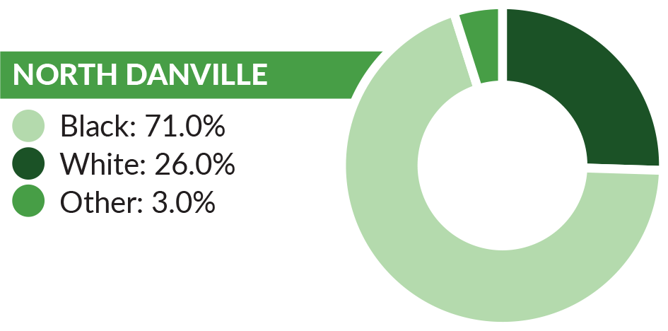 Graph showing the race/ethnicity breakdown in north Danville