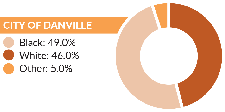 Graph showing the race/ethnicity breakdown in the city of Danville